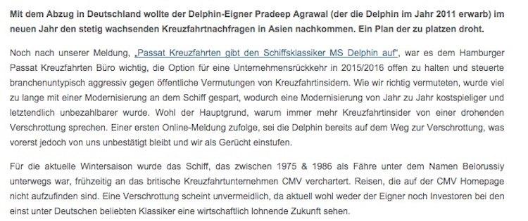 Original-Meldung vom Schiffsjournal mit Falschaussagen / © Schiffsjournal.de (Screenshot)