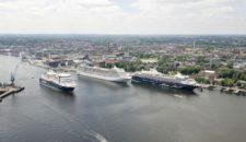 Heute sind fünf Kreuzfahrtschiffe in Kiel