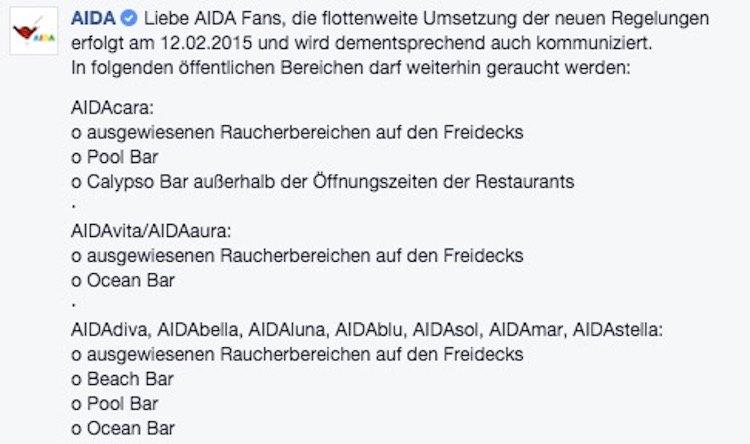 Neue AIDA Neue AIDA Raucherpolitik ab 12.02.2015 / © AIDA Facebook ab 12.02.2015
