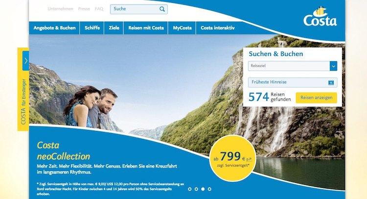 Costa Kreuzfahrten Webseite / © Screenshot www.costakreuzfahrten.de