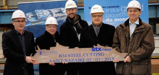 Stahlschnitt für die Oasis 4 auf der STX Werft in Frankreich / © Royal Caribbean