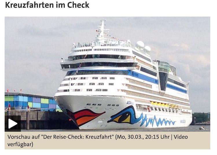 ARD Reise-Check Kreuzfahrt am 30.03.2015 um 20:15 / © Das Erste (Screenshot)