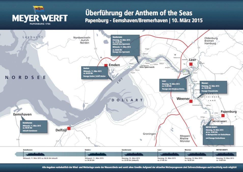 Zeitplan Emsüberführung Anthem of the Seas / © Meyer Werft