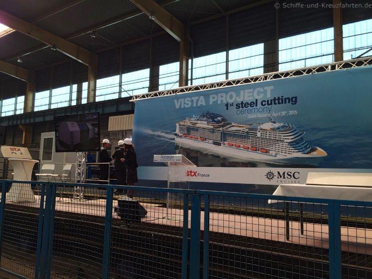 Stahlschnitt und Baubeginn: MSC MERAVIGLIA auf der STX Werft in Frankreich