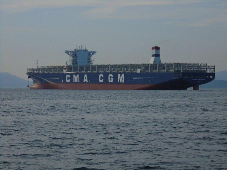 """Die """"CMA CGM Georg Forster"""": beeindruckende Dimensionen des zweiten Schiffes der Gruppe mit 18.000 TEU Ladekapazität / © CMA CGM"""