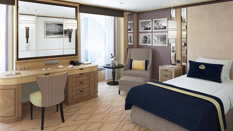 Eine der 15 neuen Singlekabinen für Alleinreisende der Queen Mary 2 / © Cunard Line