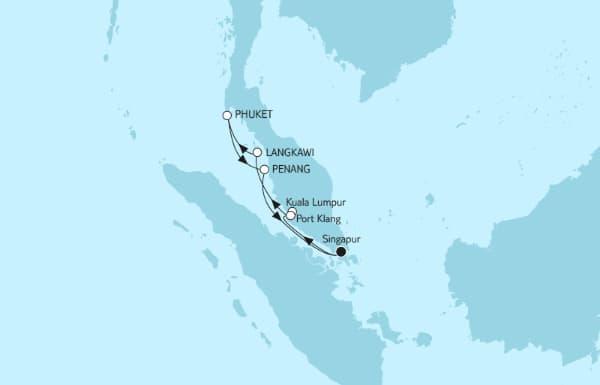 Route Asien mit Malaysien TUI Mein Schiff 1