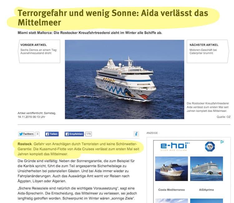 Ostsee-Zeitung - Terrorgefahr / © Screenshot: http://www.ostsee-zeitung.de/Region-Rostock/Rostock/Wirtschaft/Terrorgefahr-und-wenig-Sonne-Aida-verlaesst-das-Mittelmeer