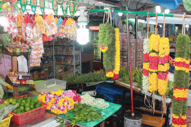 Blumenstand Little India Singapur