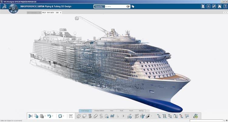 Computeranimation & Screenshot der neuen Schiffsbau-Software Catia V6 / © Meyer Werft