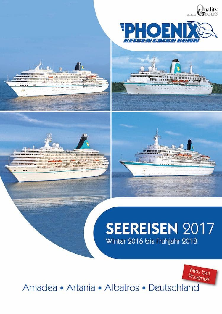 Phoenix Reisen Kreuzfahrt-Katalog 2017 mit MS Amadea, MS Albatros, MS Artania und MS Deutschland / © Phoenix Reisen