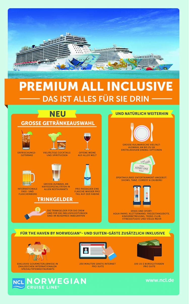 Premium all Inclusive bei NCL / © Norwegian Cruise Line