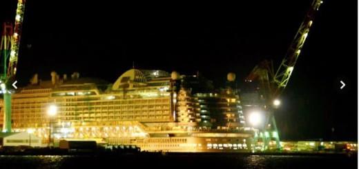 Ein Feuer ist auf der AIDAprima in Japan ausgebrochen: Auf Deck 7 gab es einen Brand in der Mitsubishi Werft / © http://www.asahi.com/articles/photo/AS20160111002296.html