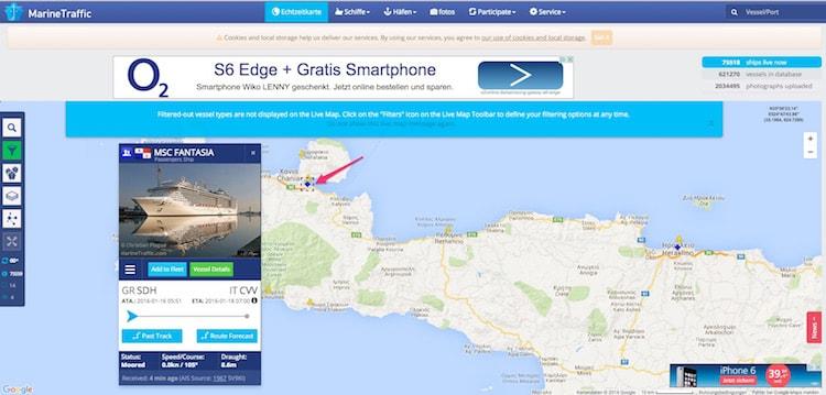 MSC Fantasia liegt im Hafen von Chania - es gibt einen Verdacht auf Sprengstoff an Bord / © Marinetraffi.com (Screenshot)