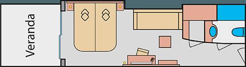 AIDAprima Panoramakabine - Beispiel Grundriss © AIDA Cruises