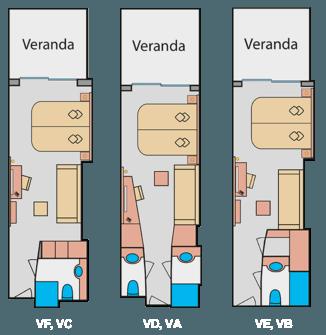 AIDAprima Verandakabine VF, VE, VD, VC, VB, VA - Beispiel Grundriss © AIDA Cruises