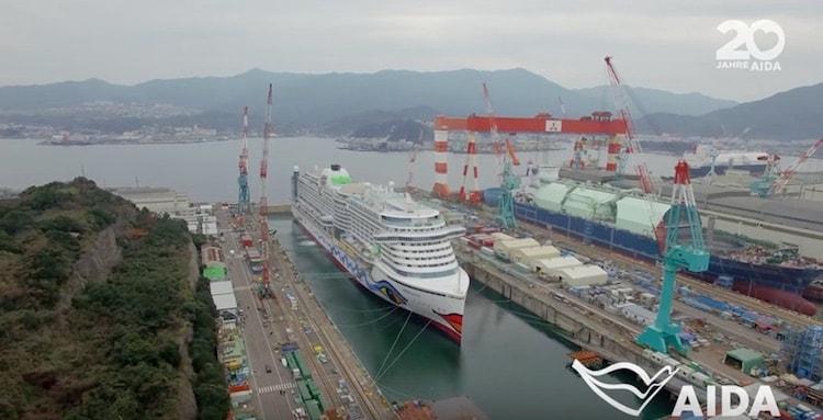 AIDAprima im Baudock der Mitsubishi Werft in Japan / © AIDA Cruises