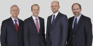 Die neue Geschäftsführung der Meyer Werft (v.l.n.r.): Bernard Meyer, Dr. Jan Meyer, Tim Meyer und Lambert Kruse / © Meyer Werft