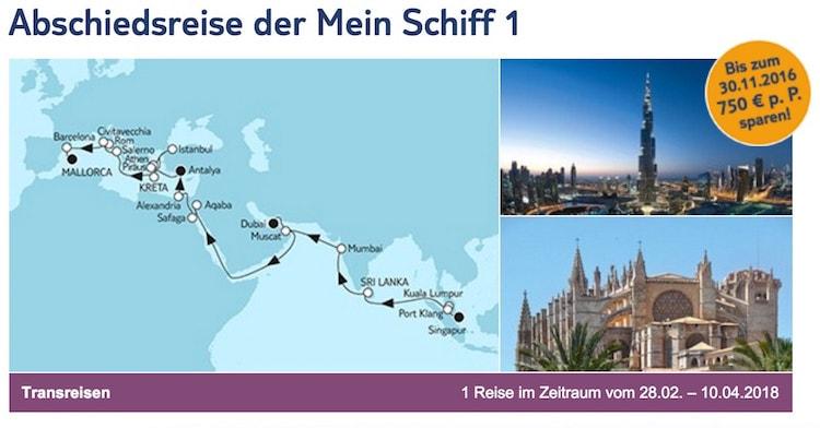 Abschiedsreise der Mein Schiff 1 von TUI Cruises im Februar 2018 / © TUI Cruises