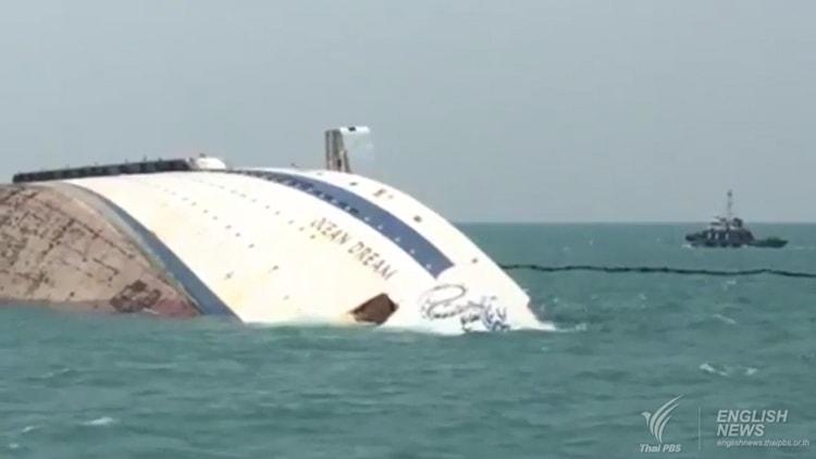 Die gesunkene Ocean Dream - ex MS Flamenco von Festival Cruises vor Laem Chabang / ©