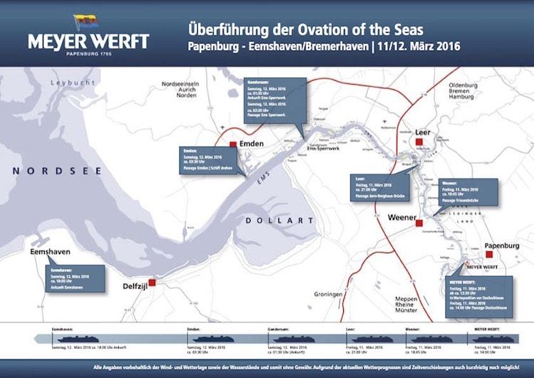 Überführungsplan: Ovation of the Seas Emsüberführung am 11. März / © Meyer Werft