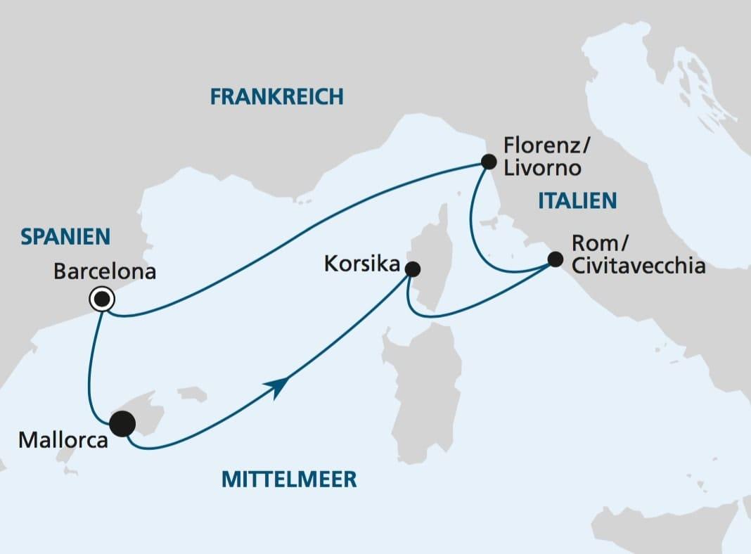 AIDAperla Routenkarte im Mittelmeer / © AIDA Cruises