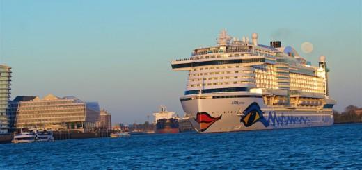 AIDAprima kommt bereits am Freitag aufgrund von Starkwinden zurück in den Hamburger Hafen