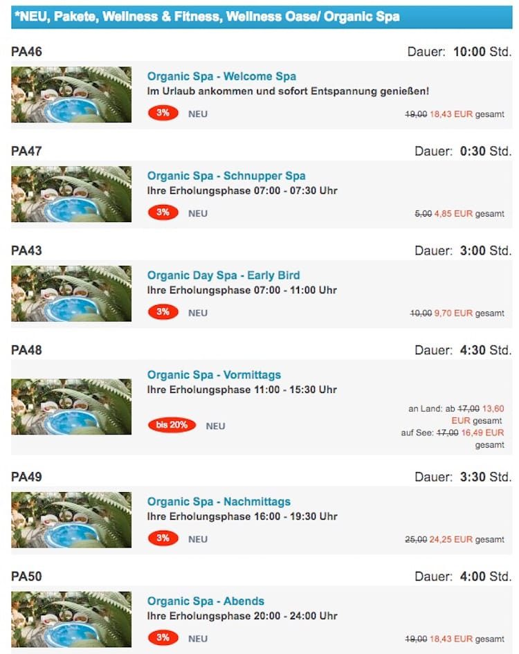 Neue Preise für die Sauna auf AIDAPrima im Organic Spa / © AIDA Cruises