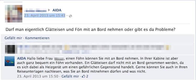 Dürfen Glätteisen bei AIDA mitgebracht werden? / © Screenshot (Facebook: AIDA Fanseite)