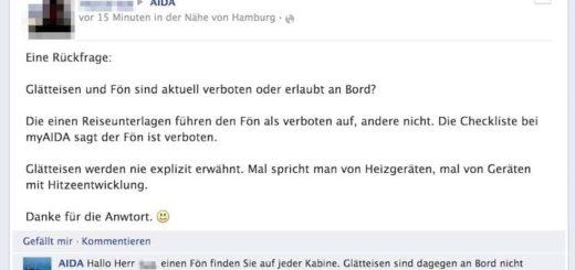 Glätteisen sind bei AIDA verboten / © Screenshot Facebook - AIDA Fanseite