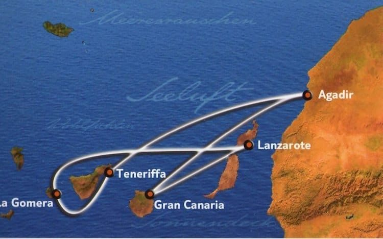 Kanaren mit Agadir - Routenkarte