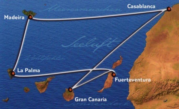 Kanaren mit Casablanca - Routenkarte