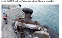 Mein Schiff 3 reisst Poller aus der Pier in La Palma