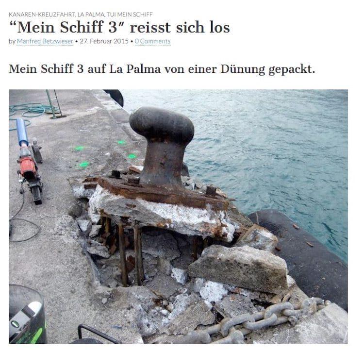 Mein Schiff 3 riss u.a. diesen Poller aus der Hafenmauer / (Screenshot) © La Palma 1 - Manfred Betzwieser