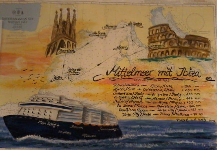 Seekarte Mittelmeer mit Ibiza Mein Schiff 4