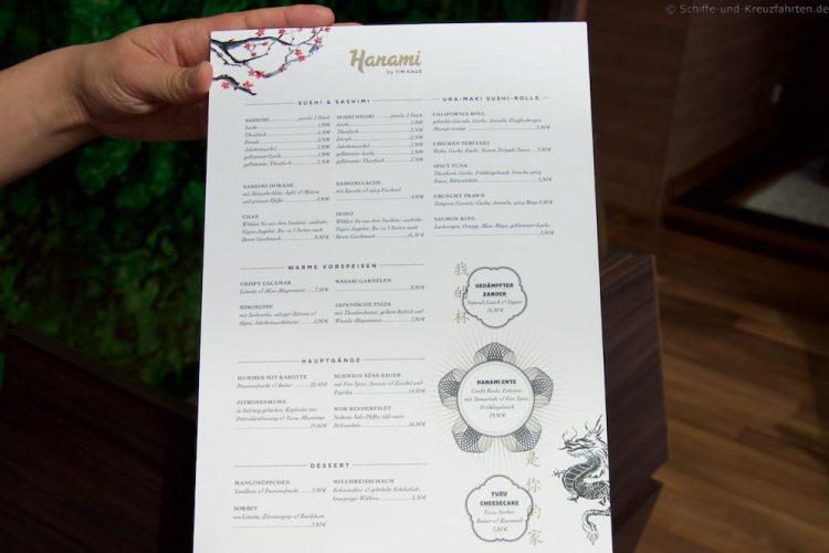 Speisekarte Hanami by Tim Raue auf der Mein Schiff 5