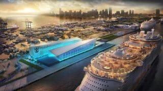 """Das neue Cruise-Terminal für die Oasis Class in Miami: Es soll """"Crown of Miami"""" heissen und je nach Sichtweise nach einem """"M"""" oder nach einer Krone ausschauen / © Royal Caribbean Interntional"""