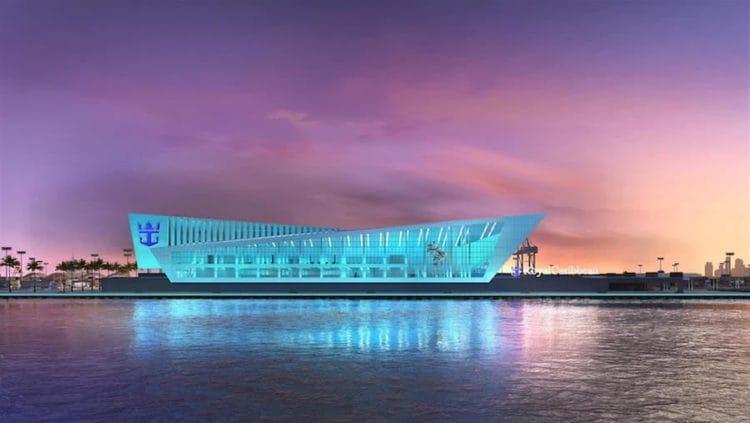 """Das neue Cruise-Terminal für die Oasis Class in Miami: Es soll """"Terminal A"""" heissen und je nach Sichtweise nach einem """"M"""" oder nach einer Krone ausschauen / © Royal Caribbean Interntional"""