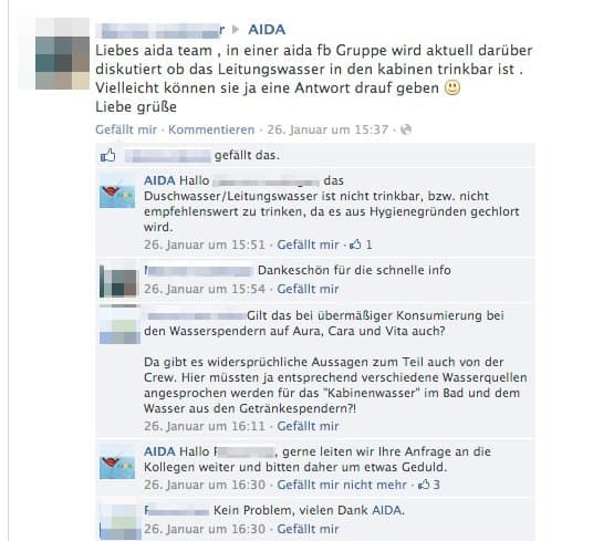 AIDA Kabinenwasser trinkbar? / © Screenshot Facebookseite AIDA Cruises