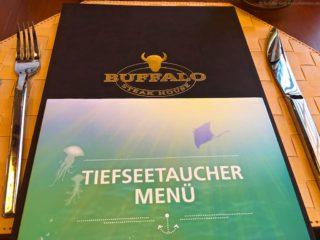 AIDAprima Speisekarte vom Buffalo Steakhouse - Kinder bekommen das Tiefseetaucher Menü