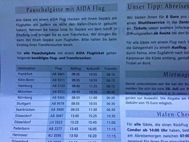 AIDA Abreise-Informationen