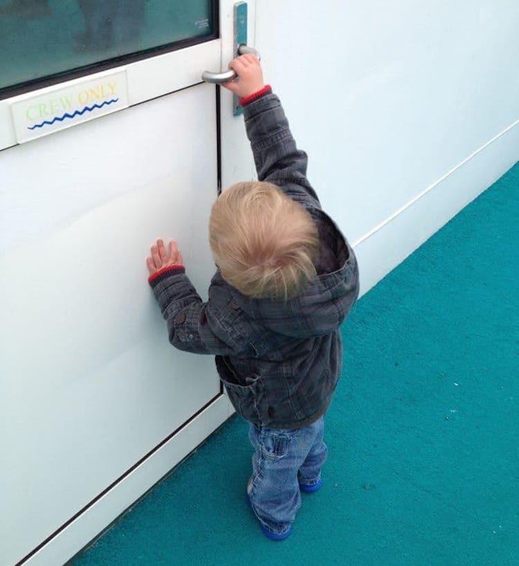 Kind entdeckt die AIDAcara