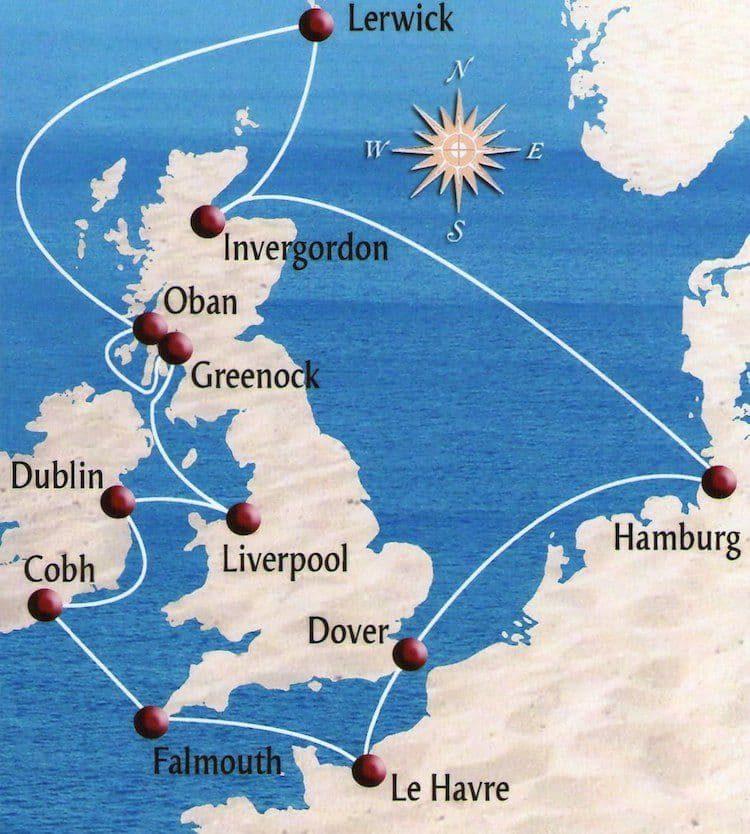 Route der England-Kreuzfahrt mit AIDAaura - Reisebericht