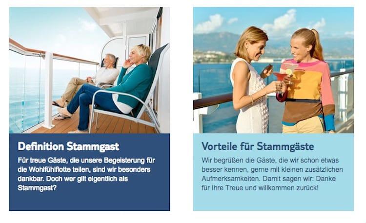 Mein Wohlfühlclub: Das neue Vorteilsprogramm für Mein Schiff Stammgäste / © TUI Cruises (Screenshot)