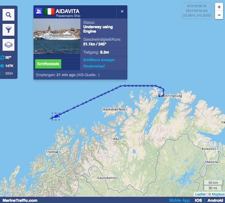 AIDAvita ist wieder auf Kurs nach einem Defekt am Nordkap / © Marinetraffic .com
