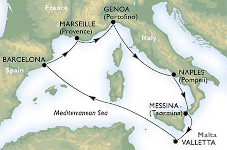 Route der Mittelmeer Kreuzfahrt von MSC Seaview