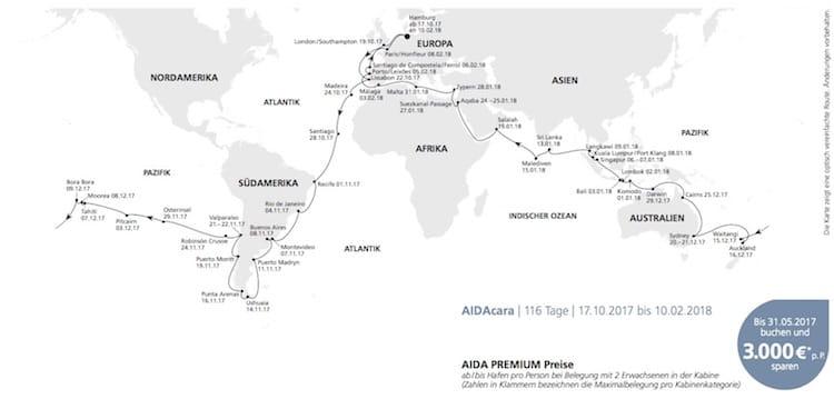 AIDAcara Weltreise ab Hamburg © AIDA Cruises