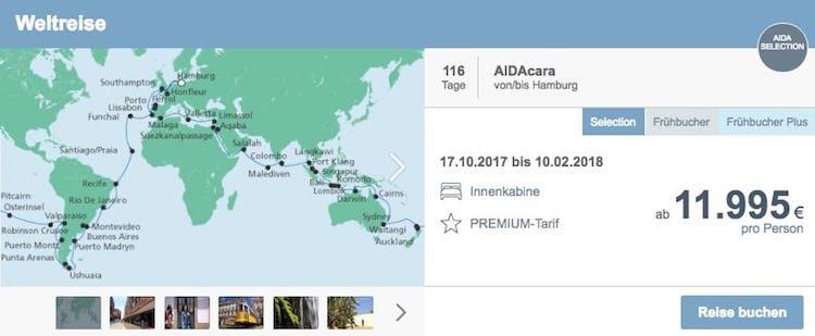AIDA Weltreise mit AIDAcara