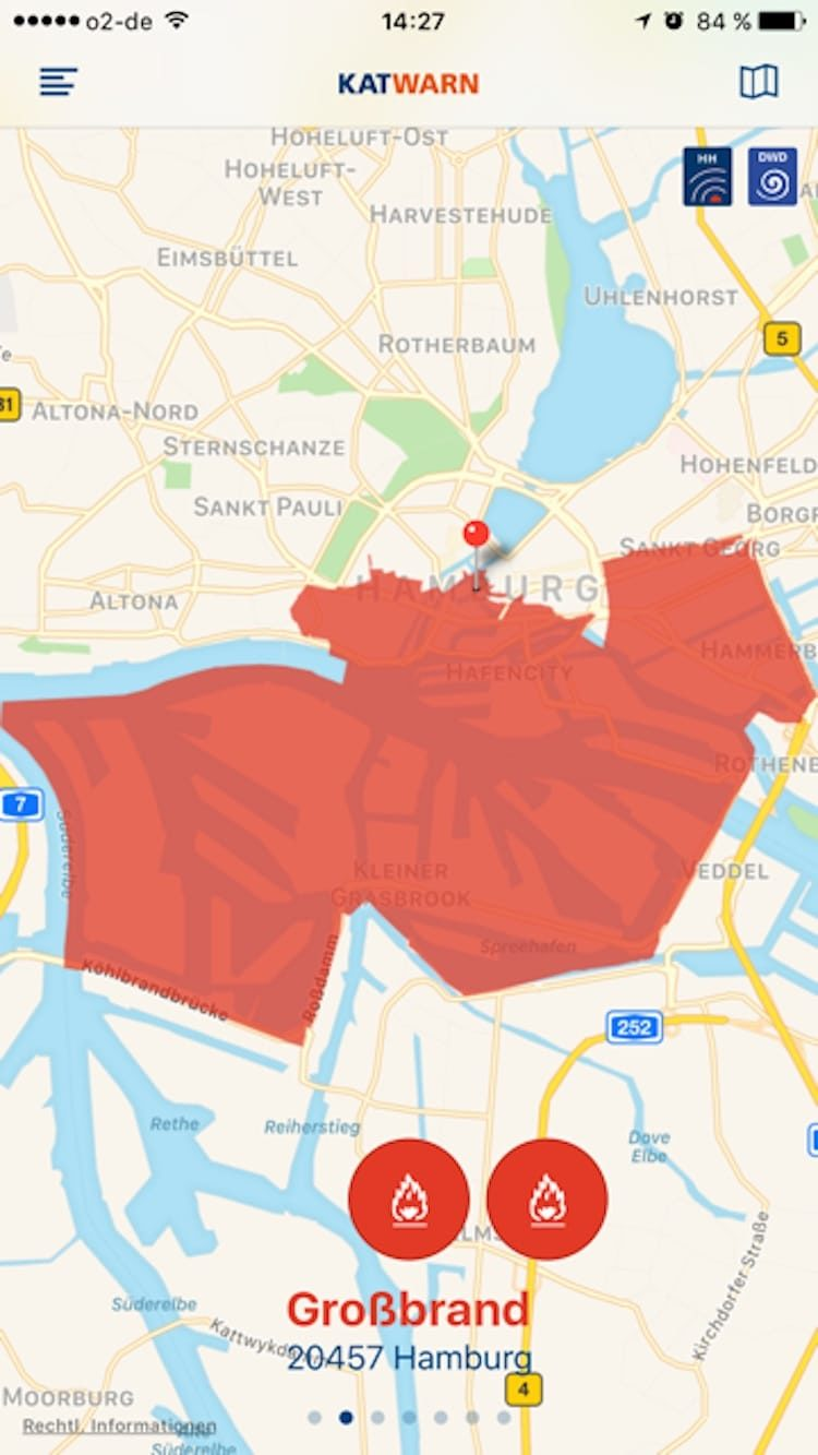 KATWARN meldet Großbrand in Hamburger Hafen / © APP KATWARN (Screenshot)