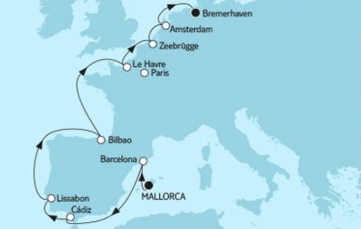 Mein Schiff 3 Mallorca trifft Bremerhaven 1 - 2017 © TUI Cruises